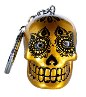 Candy Skulls LED keychain gold