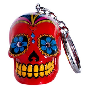 Candy Skulls LED keychain red