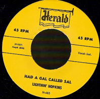 LIGHTNIN' HOPKINS - Had A Gal Called Sal