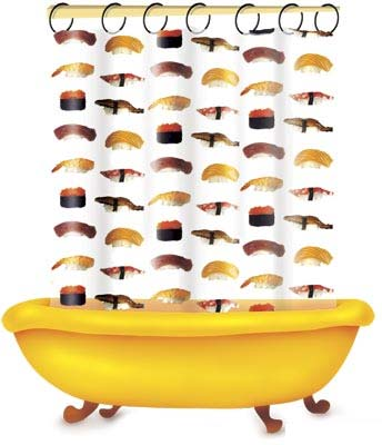 Duschvorhang sushi transparent klang und kleid for Coole duschvorha nge