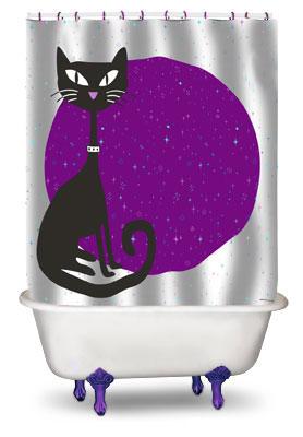 Duschvorhang schwarzer kater katze black cat klang und - Schwarzer duschvorhang ...