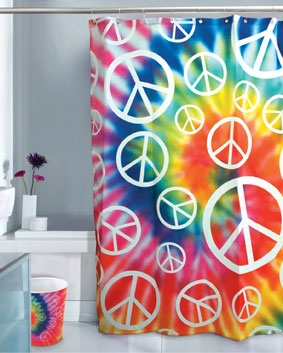 duschvorhang flower power klang und kleid interior duschvorh nge duschvorhang flower. Black Bedroom Furniture Sets. Home Design Ideas
