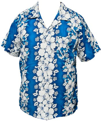 Hawaii Hemd - Flowers & Anchor - Hellblau