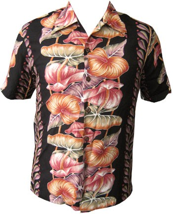 KALAKAUA - ORIGINAL HAWAIIHEMD - ANTHURIUM - BLACK