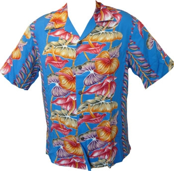 Kalakaua - original Hawaiihemd - Anthurium - Royale Blau