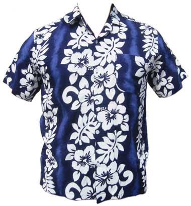 Hawaii Hemd Classic Flower - dunkelblau