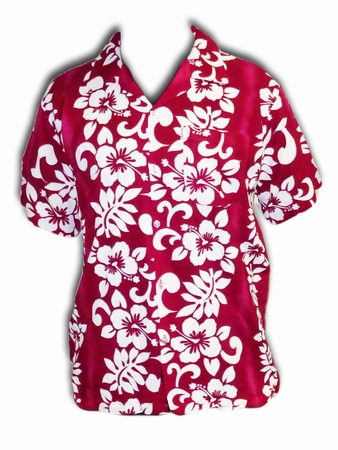 Hawaii Hemd Classic Flower - rosa/rot