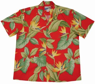 Original Hawaiihemd - Airbrush Bird of Paradise - Rot - Waimea Casual