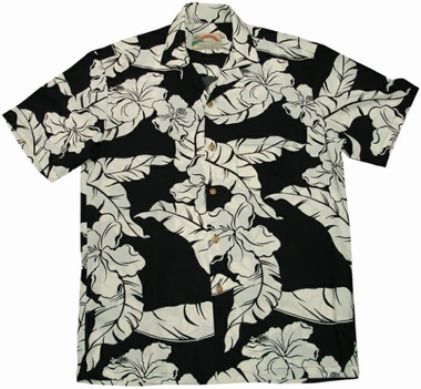 Original Hawaiihemd - Hibiscus Pareau Black - Paradise Found