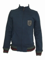 LAMBRETTA KNITWEAR TRIM BADGED FUNNEL NAVY - CARDIGAN