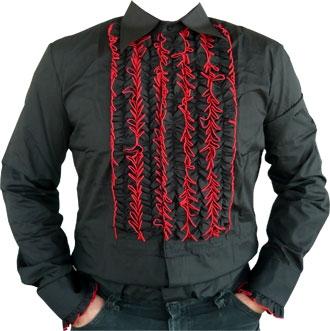 Rüschenhemd - schwarz - rot abgestickt