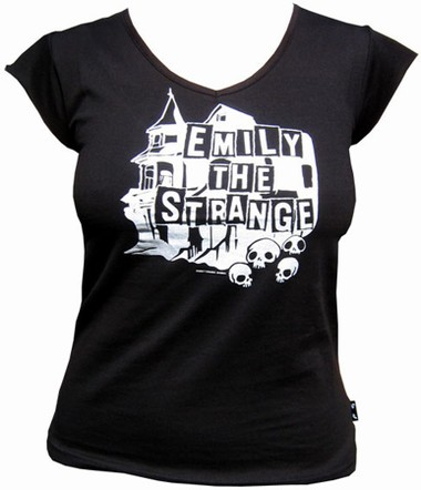 Emily the Strange - Haunted V-Neck Shirt