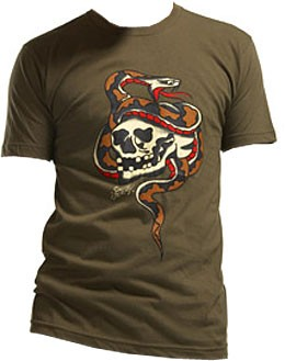 Sailor Jerry Men's T-Shirt - Skull Snake Army Green
