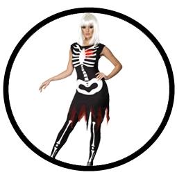 Skelett Knochen Kleid Kostüm - leuchtet im Dunkeln  - Klicken für grössere Ansicht