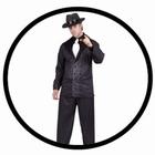 Mafia Kostüm schwarz - Nadelstreifen