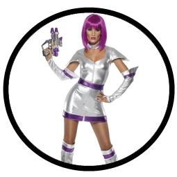 Space Girl Kostüm - Weltraum Kadettin silber - Klicken für grössere Ansicht