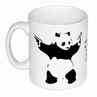 Destroy Racism Tasse Banksy Panda Kaffeetasse