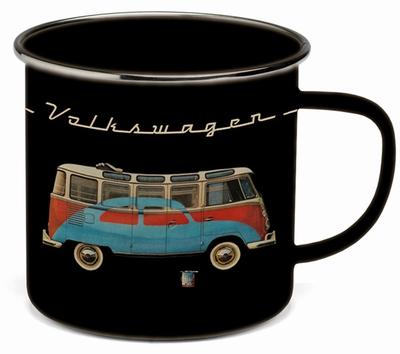 VW BULLI Emaille Tasse - Schwarz