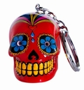 2 x CANDY SKULLS LED KEYCHAIN RED