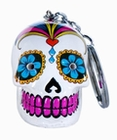 1 x CANDY SKULLS LED KEYCHAIN WHITE