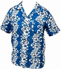 16 x HAWAII HEMD - FLOWERS & GUITARS - HELLBLAU