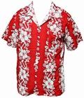 x HAWAII HEMD - FLOWERS & ANCHOR - ROT