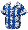 32 x HAWAII HEMD - FLOWERS & ANCHOR - DUNKELBLAU