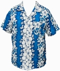 11 x HAWAII HEMD - FLOWERS & ANCHOR - HELLBLAU
