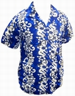 19 x HAWAII HEMD - FLOWERS & GUITARS - DUNKELBLAU