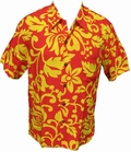 16 x KALAKAUA - ORIGINAL HAWAIIHEMD - ALOHI - RED YELLOW