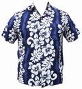 8 x HAWAII HEMD CLASSIC FLOWER - DUNKELBLAU