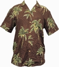 1 x ORIGINAL HAWAIIHEMD - COCONUT TREE - CHOCOLATE BROWN - PARADISE FOUND