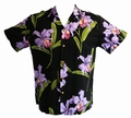 8 x ORIGINAL HAWAIIHEMD - DOUBLE ORCHID - SCHWARZ - PARADISE FOUND