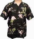 x ORIGINAL HAWAIIHEMD - FLAMINGO - SCHWARZ - PARADISE FOUND