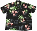 4 x ORIGINAL HAWAIIHEMD - FLAMINGO - SCHWARZ - PARADISE FOUND