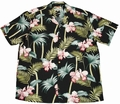 7 x ORIGINAL HAWAIIHEMD - ORCHID BAMBOO BLACK - PARADISE FOUND
