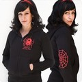 2 x POISONOUS SPIDER GIRL HOODED JACKET SCHWARZ
