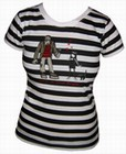 2 x EMILY THE STRANGE - MONSTER STRIPE SHIRT