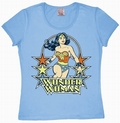 1 x LOGOSHIRT - WONDER WOMAN GIRL SHIRT - DC COMICS - HELLBLAU