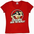 2 x LOGOSHIRT - WONDER WOMAN GIRL SHIRT - DC COMICS - ROT