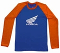 2 x HONDA LONG SLEEVE - BLAU/ORANGE - SHIRT