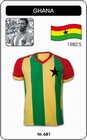 1 x GHANA TRIKOT - RETRO FUSSBALL TRIKOT GESTREIFT
