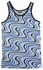1 x WAVY RETRO TANK SHIRT - BLUE - MEN