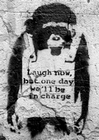 1 x BANKSY POSTER AFFE LAUGH NOW