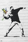 4 x BANKSY POSTER THROWING FLOWERS