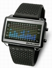 TOKYOFLASH UHR - EQUALIZER HIGH FREQUENCY PU BLACK & BLUE LIGHTS