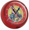 4 x VESPA WANDUHR RUND - ROT-GELB