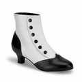 1 x FLORA-1023 - WHITE AND BLACK SPAT ANKLE BOOTS