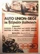 AUDI Auto Union Belgrader Stadtrennen. Poster
