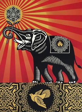 Shepard Fairey Kunstdruck Peace Elephant